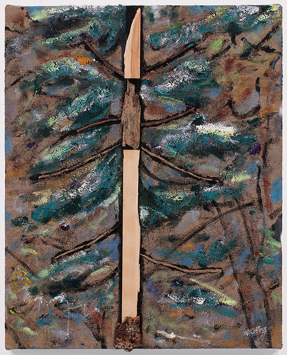 Tree, 2015 oil, acrylic, twine and wood on linen 21 x 17 in