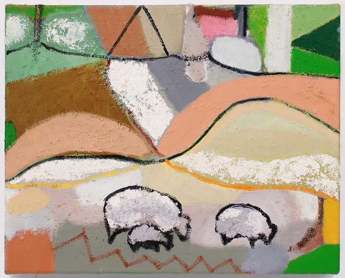 Sheep, 2014 oil, sand, sawdust and twine on canvas 14 x 17 in