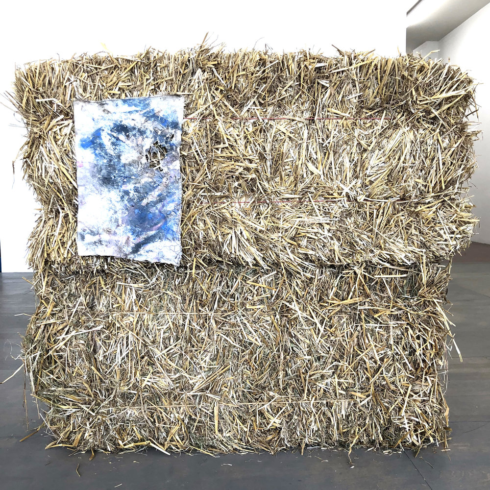 Shroud , 2018 hay bales, canvas, latex, spray paint 38 x 43 x 15 in
