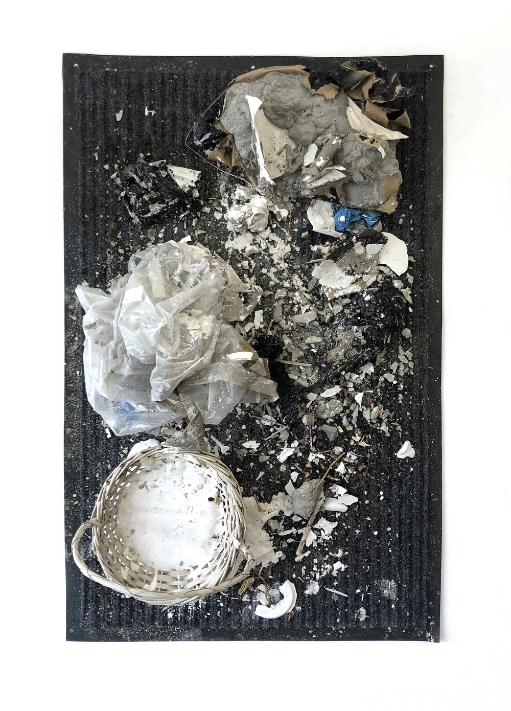 Tableau , 2018 rug, basket, Hydrocal, studio debris 31-1⁄2 x 19-1⁄2 x 10 in