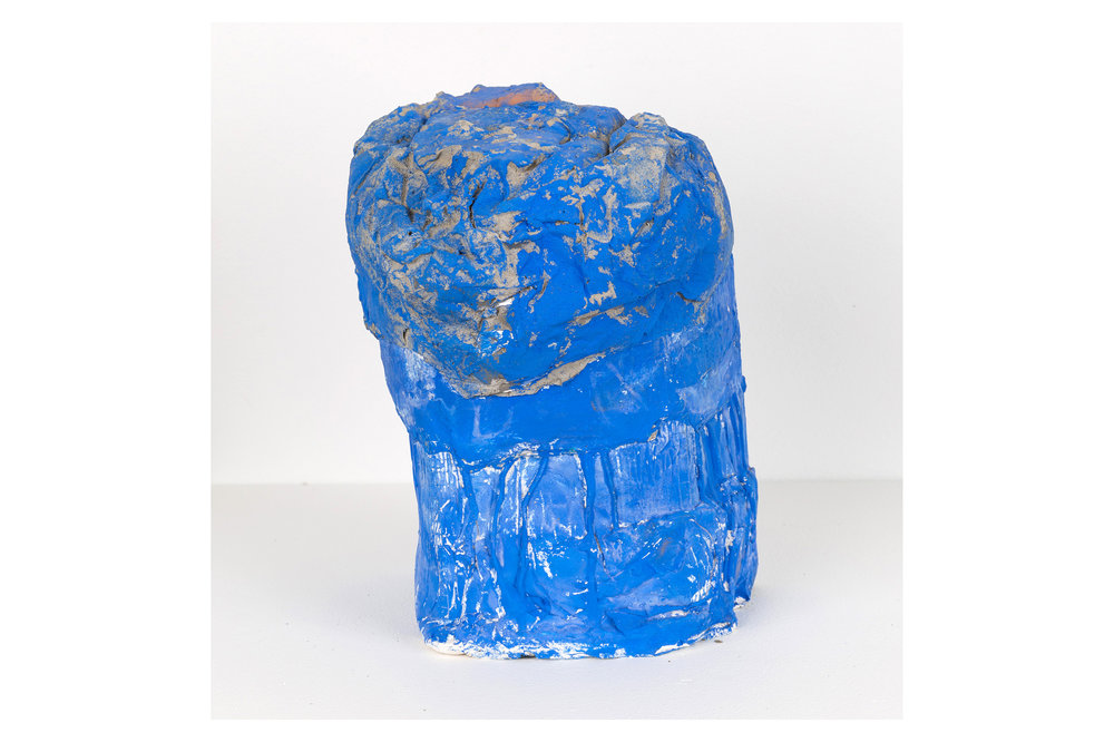 Portrait in Blue , 2018  Hydrocal, concrete, aluminum foil, flasche  11 x 7 x 8 in