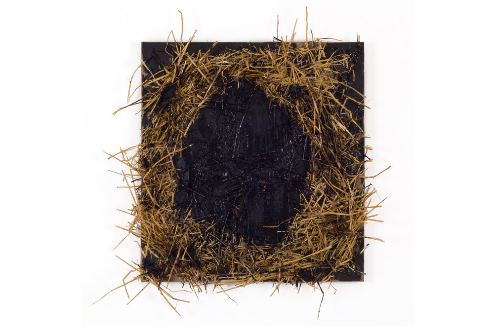 Snare , 2011  oil, enamel, tar, hay and stones on linen  30 x 30 in