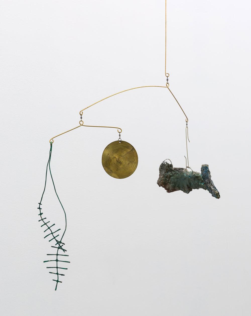 Angler 2 , 2018 brass, copper, steel, paster, wax, paint, earring 26 x 19 x 3 in