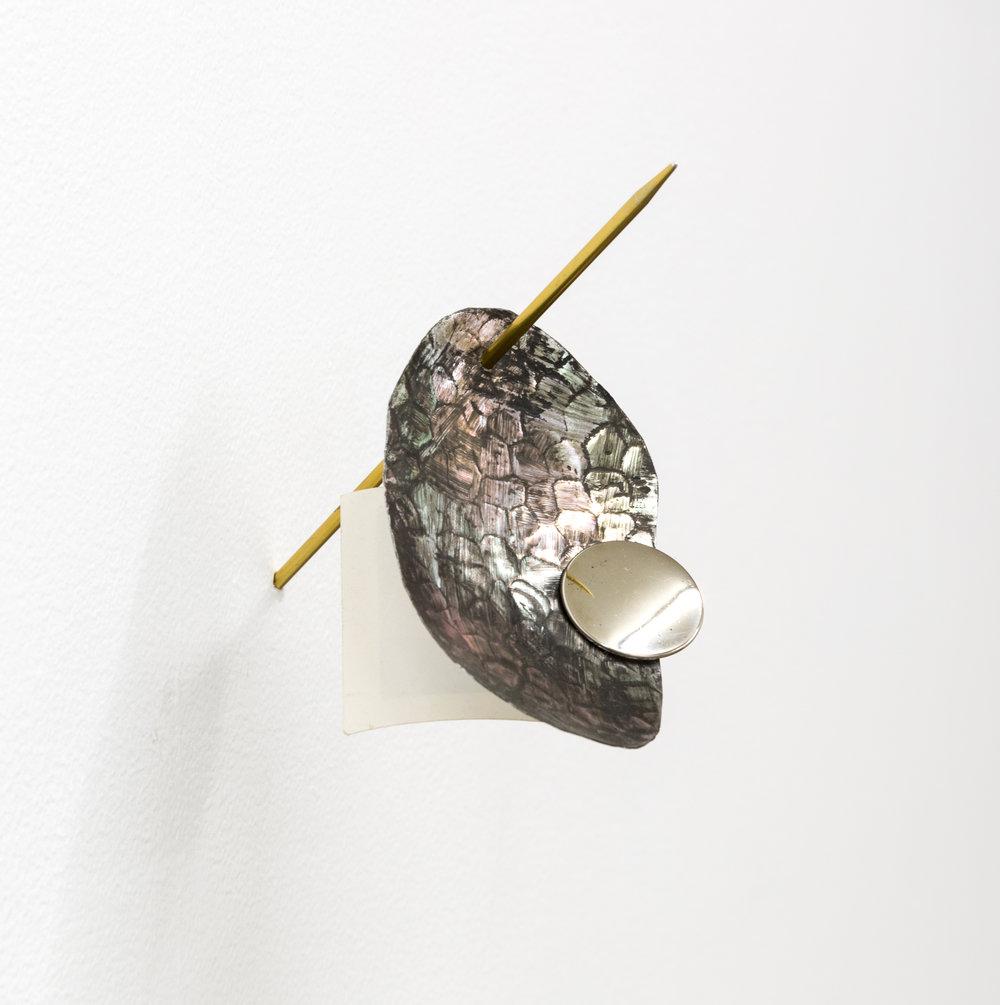 Password , 2018 knitting needle, aluminum, earring, found photo 6 x 4 x 4 in