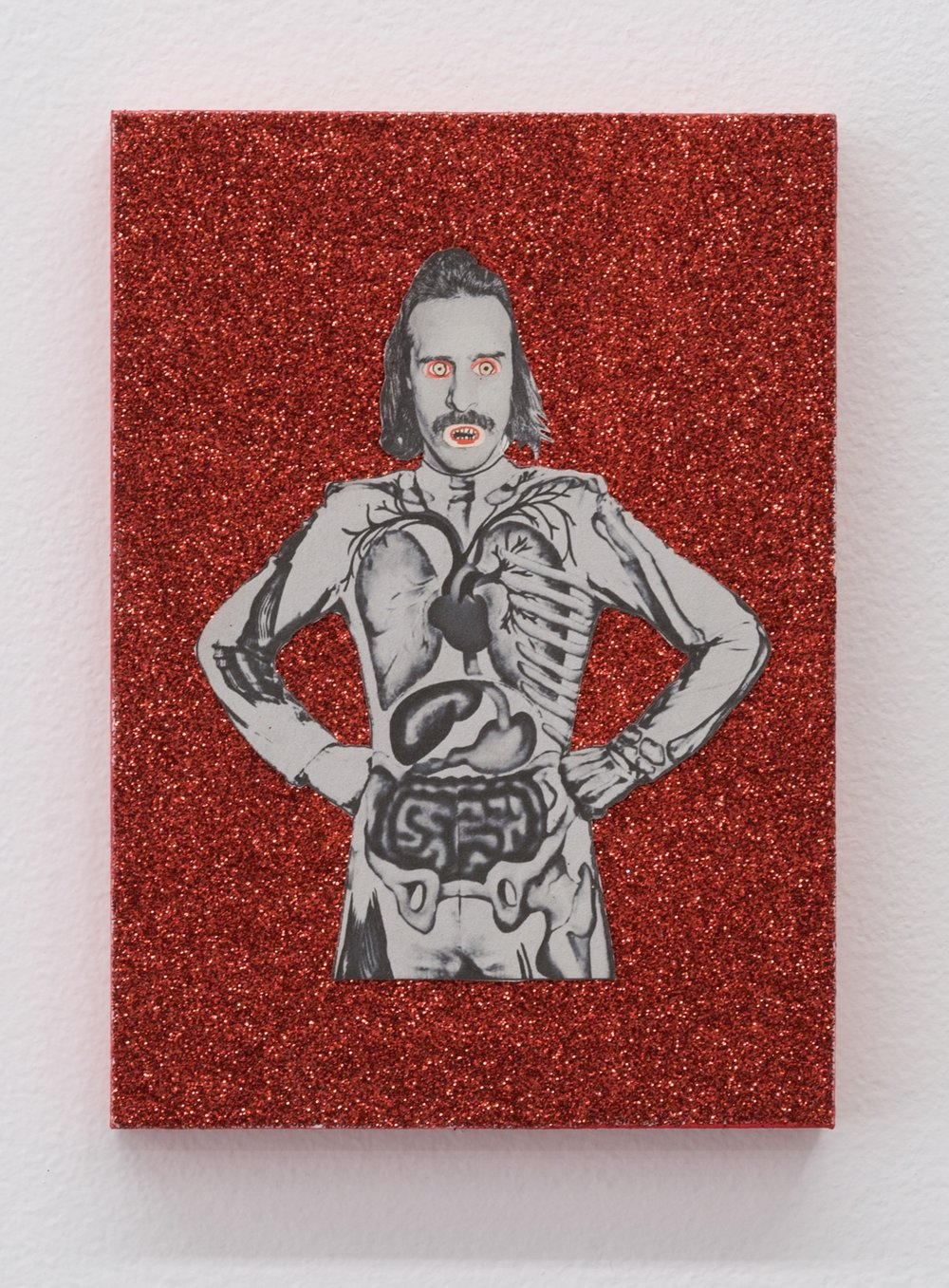 The Story of Slim Dad Body II (The Ascension of Slim Dad Body) , 2019  glitter, tinsel, and mixed media on panel  7 x 5 in
