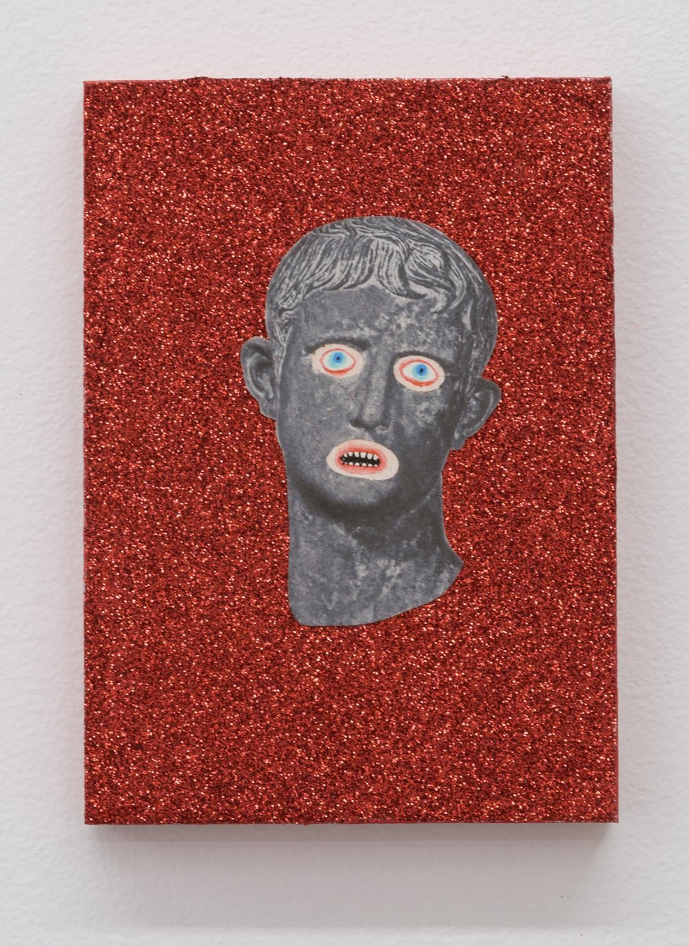 The Story of Slim Dad Body V (The People's Revenge) , 2019  glitter, tinsel, and mixed media on panel  7 x 5 in