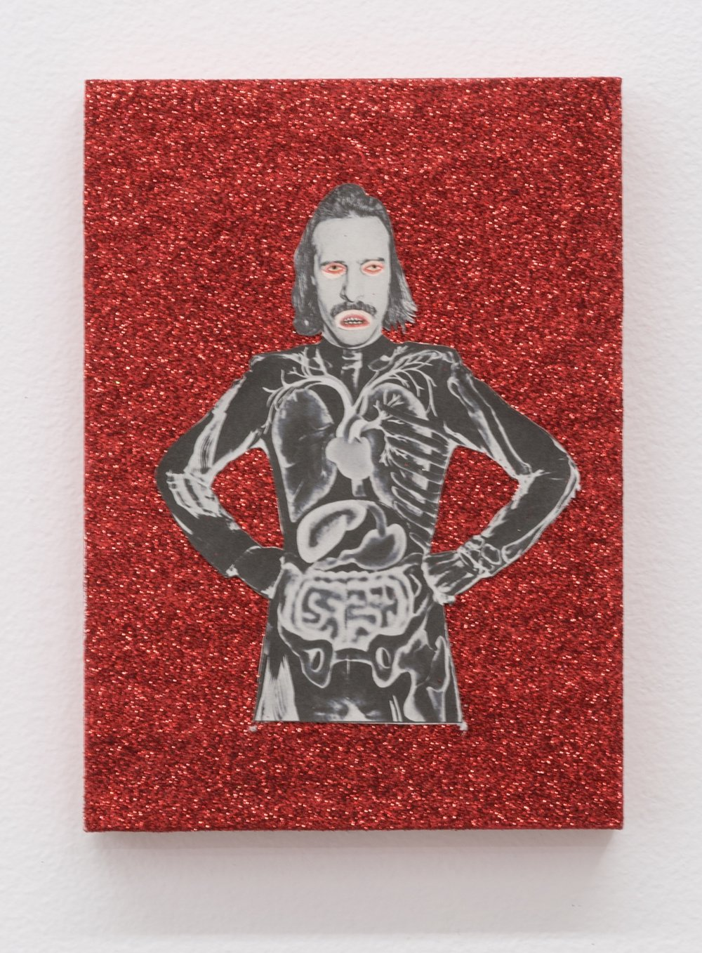 The Story of Slim Dad Body VI (The Birth of Slim Dead Body) , 2019  glitter, tinsel, and mixed media on panel  7 x 5 in