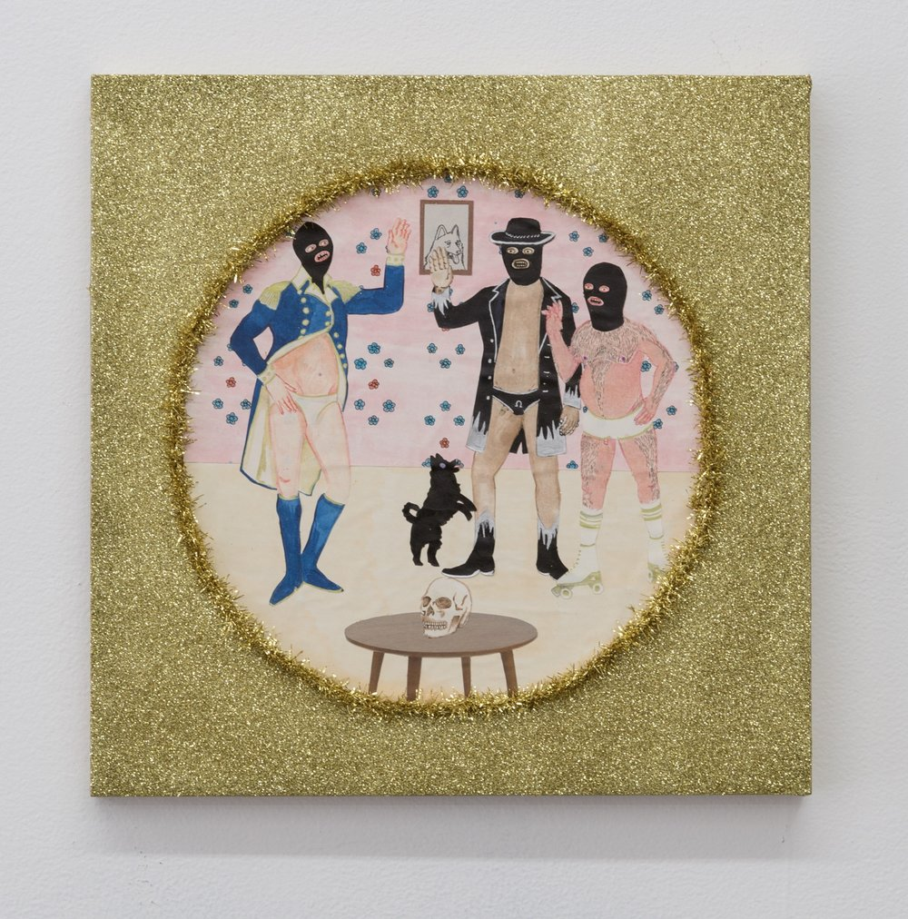 Best Friends II (Finally Here) , 2019  glitter, tinsel, and mixed media on panel  12 x 12 in