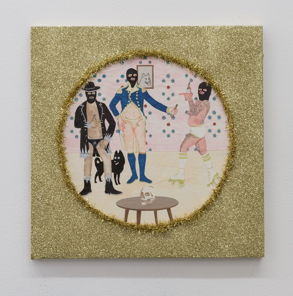 Best Friends III (Drink Up Dummies) , 2019  glitter, tinsel, and mixed media on panel  12 x 12 in