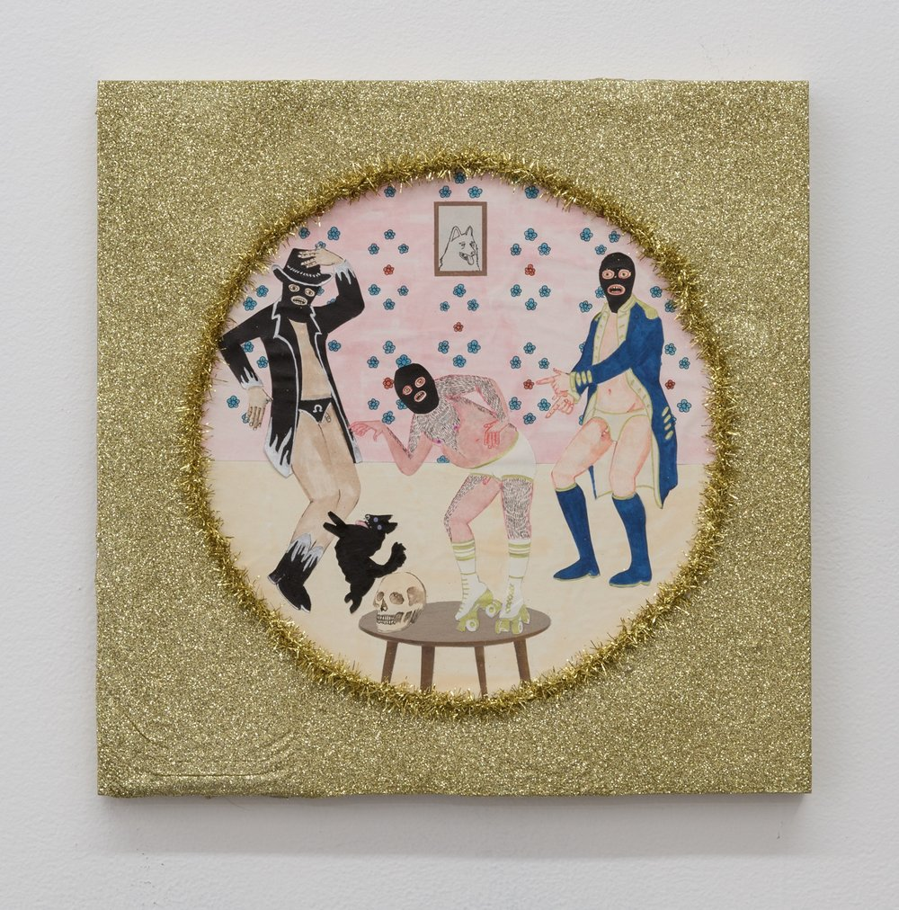 Best Friends IV (Dance Break) , 2019  glitter, tinsel, and mixed media on panel  12 x 12 in