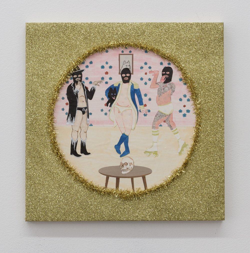 Best Friends V (Post Dance Break Smoke Break) , 2019  glitter, tinsel, and mixed media on panel  12 x 12 in