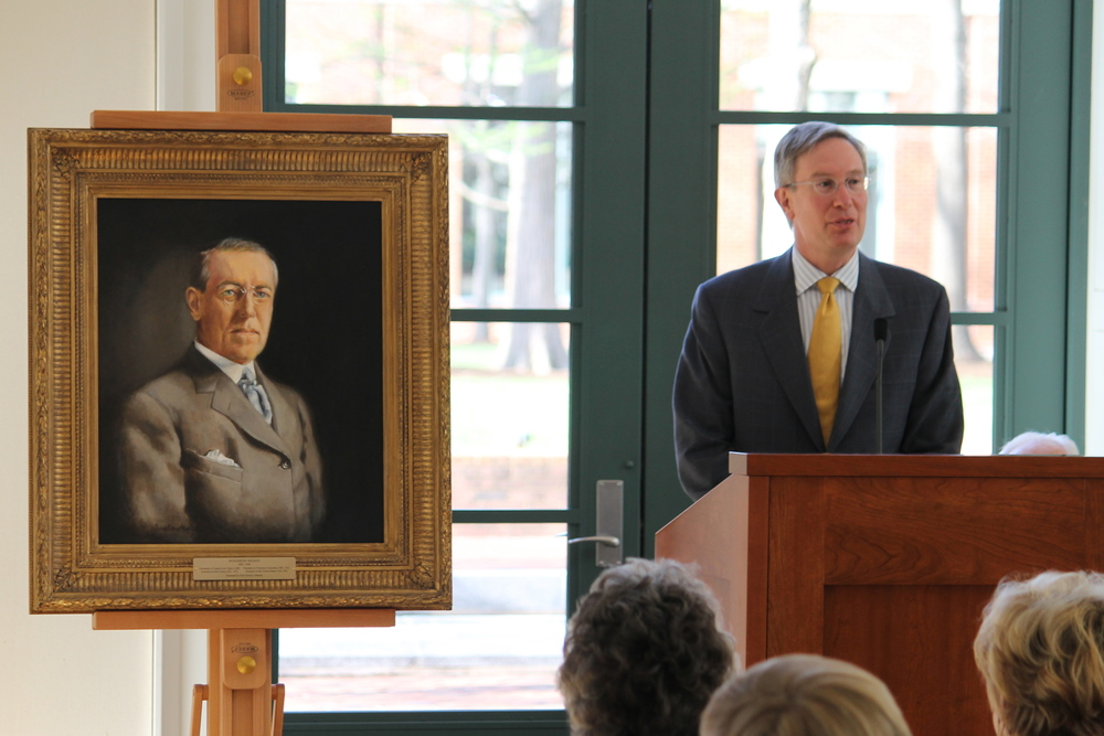 Ann Cowden's portrait of Woodrow Wilson at the University of Virginia School of Law.
