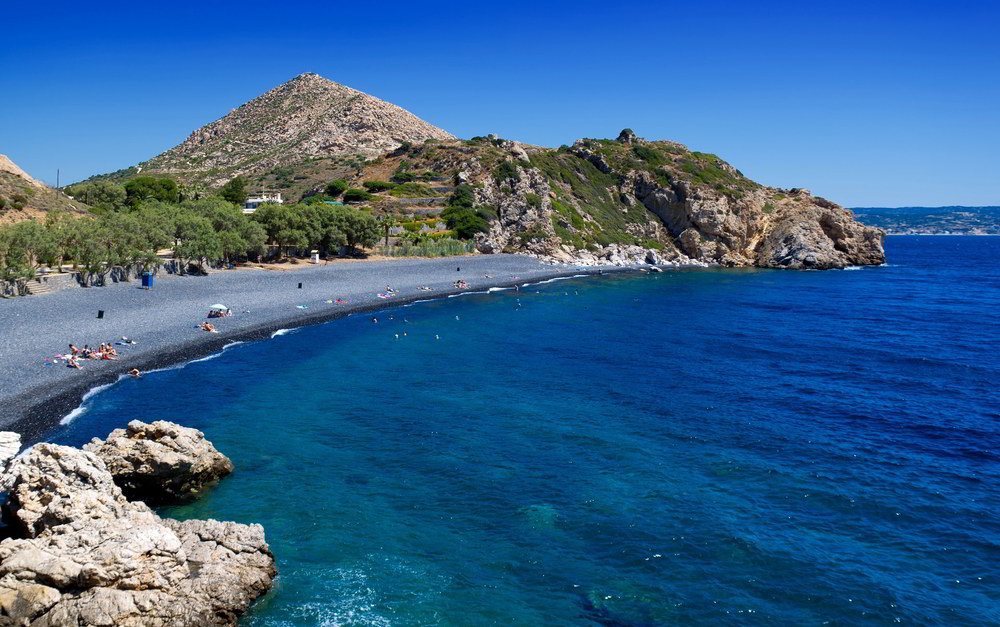Black Stone Beach on Chios Island, Greece