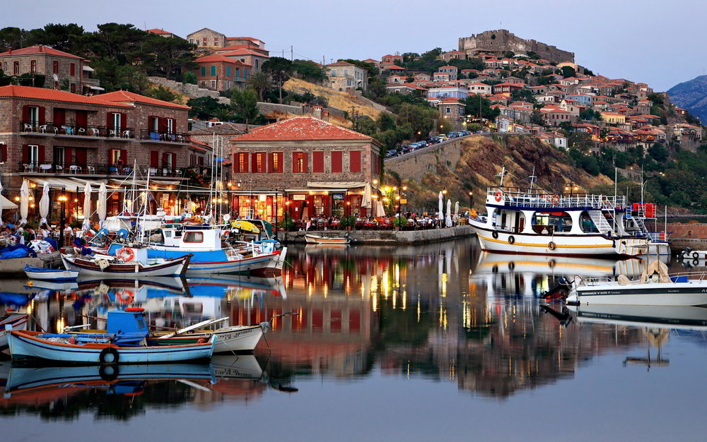 Harbor in Molyvos on the Island of Lesvos, Greece