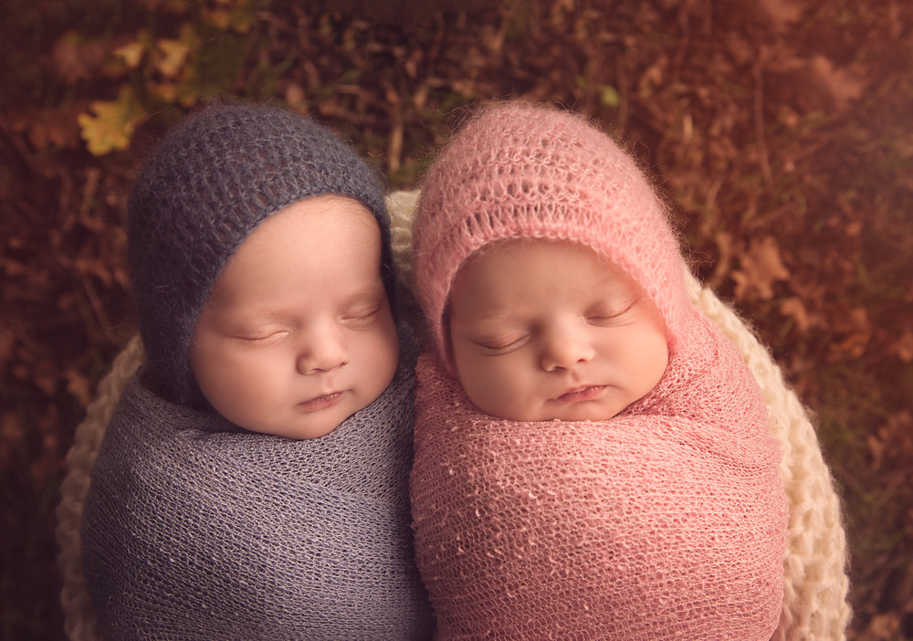 Newborn twins. Photoshoot outside. Autumn colours