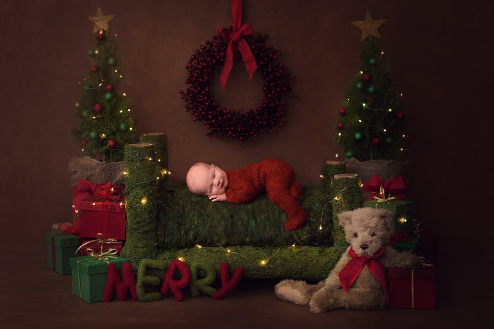 Best Christmas Newborn Sessions available at Alma's Home Studio