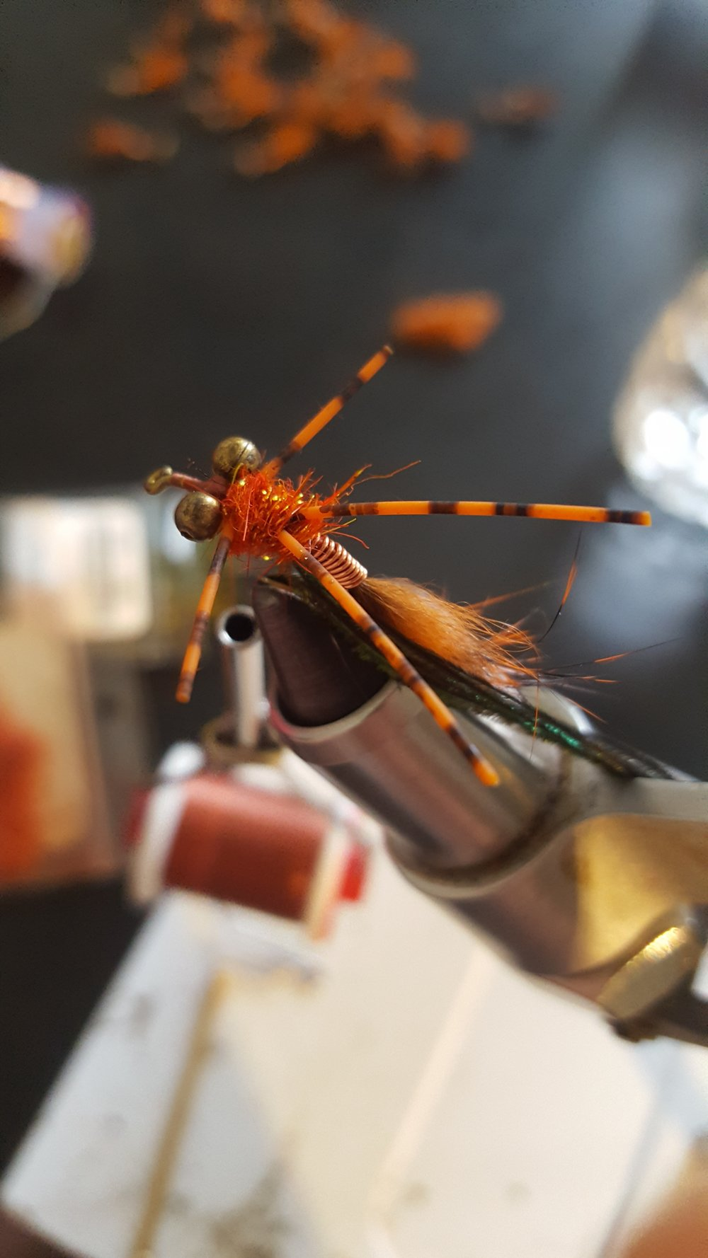 Step six dub your thorax from the brass to the bead chain eyes