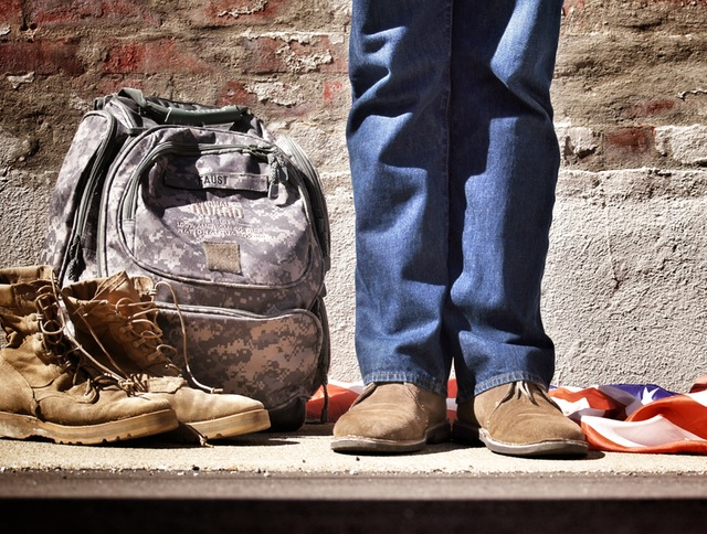 boots, rucksack, flag and civilian pants and shoes