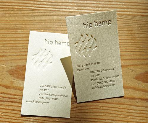 Hip hemp business cards letterpress pdx hip hemp business cards reheart Images