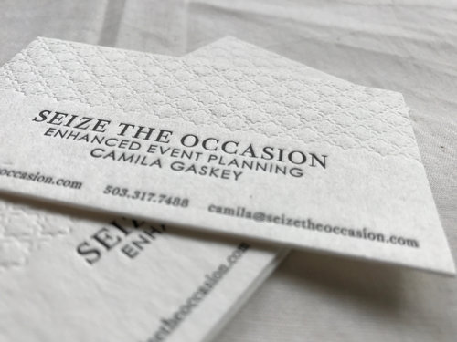 Seize the occasion business cards letterpress pdx reheart Choice Image