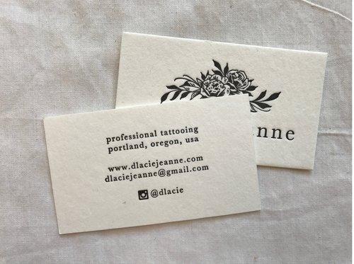 Dlacie jeanne business cards letterpress pdx dlacie jeanne business cards colourmoves