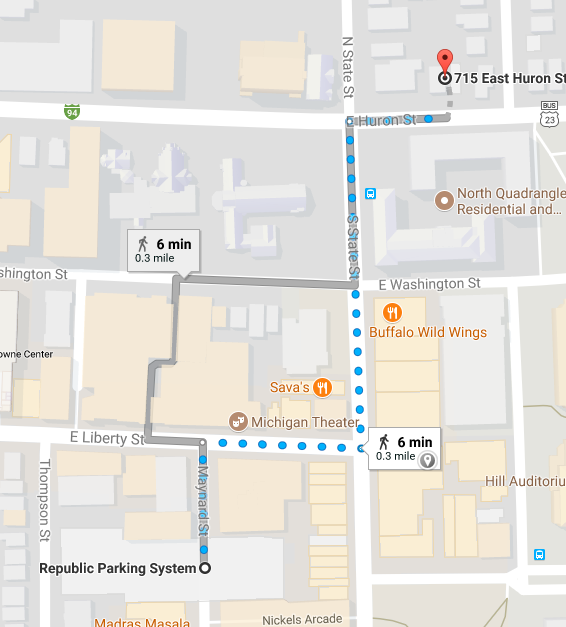 We are a 6 minute walk from the Maynard parking structure