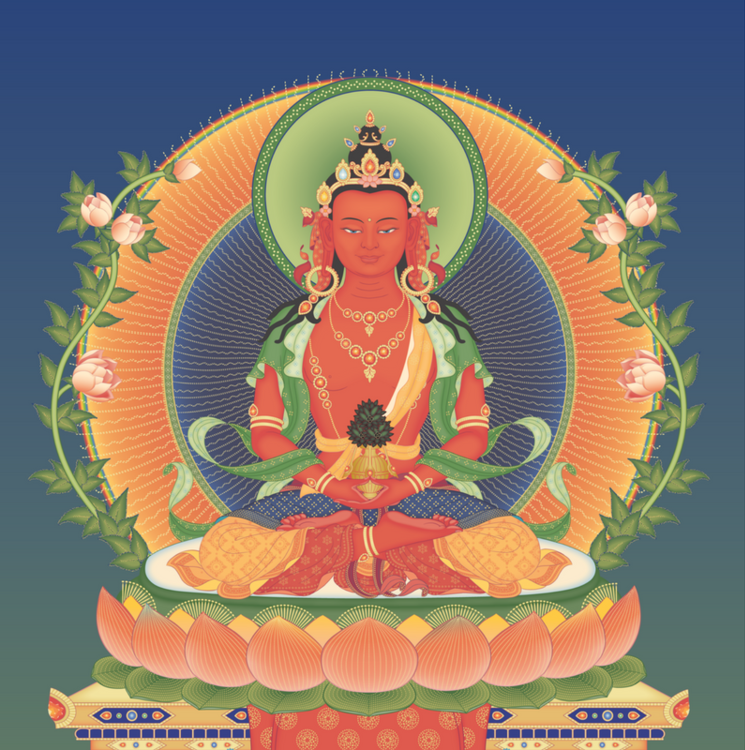 Buddha Amitayus embodies the immeasurable wisdom, virtue, and life of all enlightened beings.