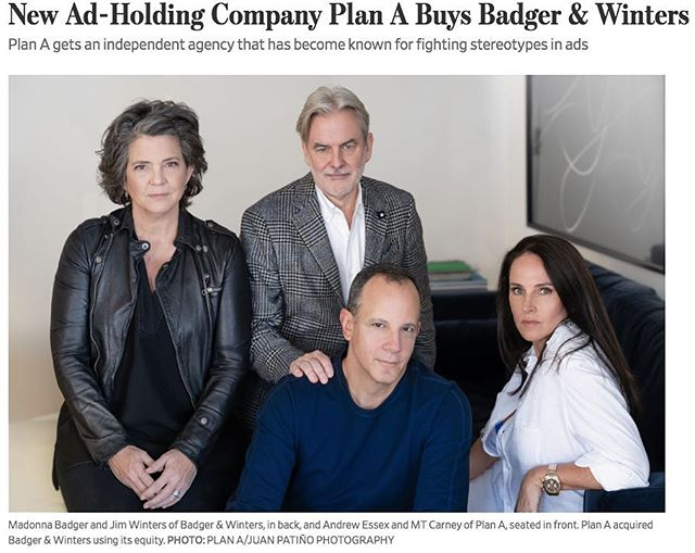 """We are very excited to announce the next fantastic phase for Badger & Winters! For the last 25 years we have built this company with the love, support and talent of so many people and now, with Plan A, we create our future."" - @madonnabadger — Check out the full article on @wsj (link in bio)"