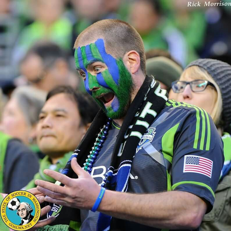 Josh expressing displeasure to a particular referee call at a Seattle Sounders game