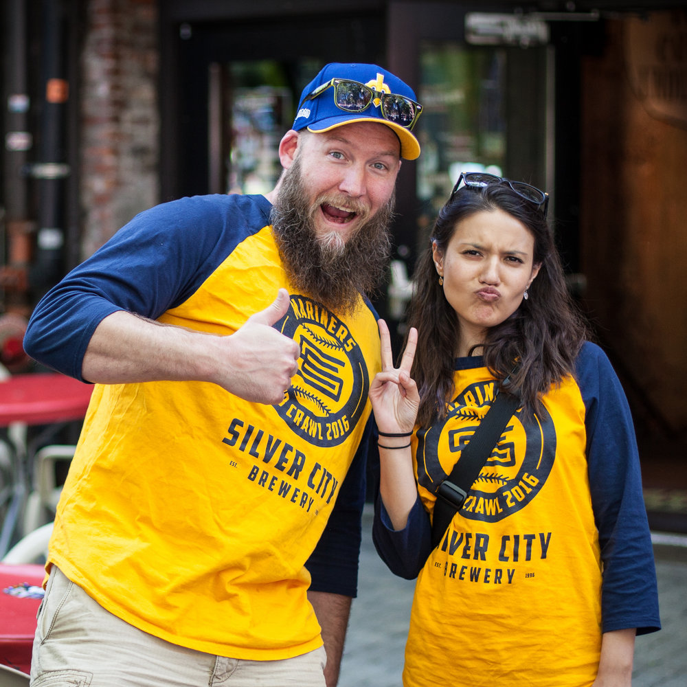 The long-time taproom dynamic duo, Josh McKenna and Kat Hayes, celebrating the 2016 Silver City Mariners Pub Crawl