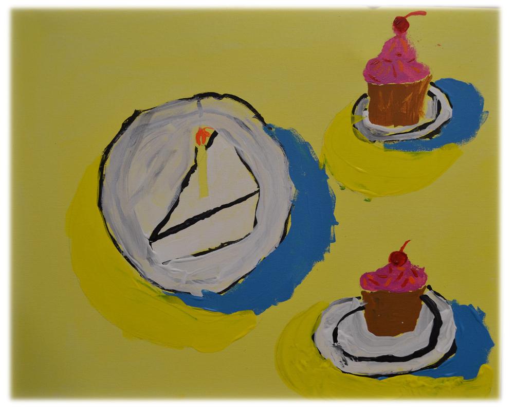 Robert's Mondern Slice of Cake & 2 Cupcakes.jpg
