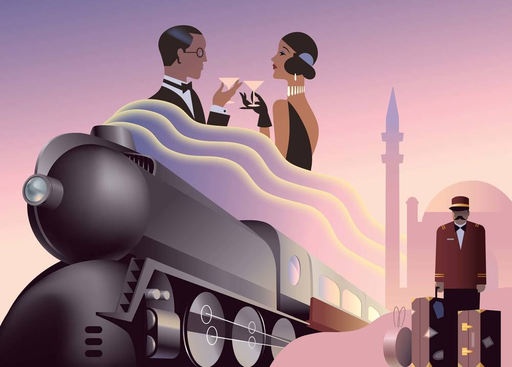 Art Deco poster Orient Express Train Illustration, Royal Dutch Mint