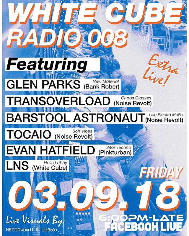 FRIDAY FRUDAY FIRDAY! @whitecubesociety is getting extra live with some of our good musical friends. Tune in starting at 6pm this Friday 📡 03/09/18 🐉👂