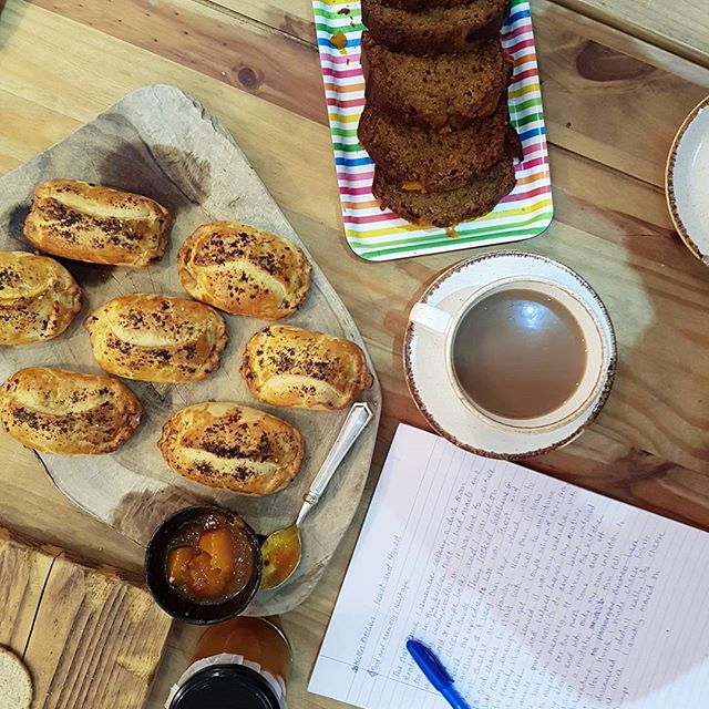 Feast and Harvest Writers Kitchen workshop 3/4. This month we explored seasonal gluts and the feast of variety that comes with it. Pumpkin and #goatscheese pastries, spiced #pumpkin loaf, pumpkin #chutney and jam.  Sharing stories and memories around food. Next workshop with @lynndawardle coming up on the 11th Nov!