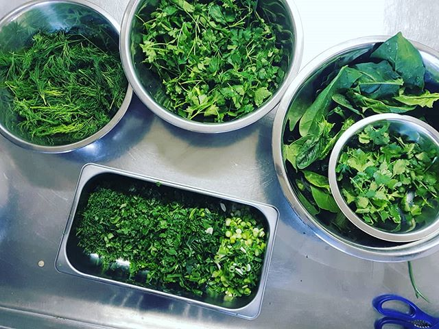 Prep Kitchen: Ash Reshteh  Tinkering with my favourite #Iranian soup recipe - #ash #reshteh, packed with herbs and legumes and served in every house during #nowruz to mark the arrival of spring 🌱  #dill #spinach #parsley #coriander #springonions