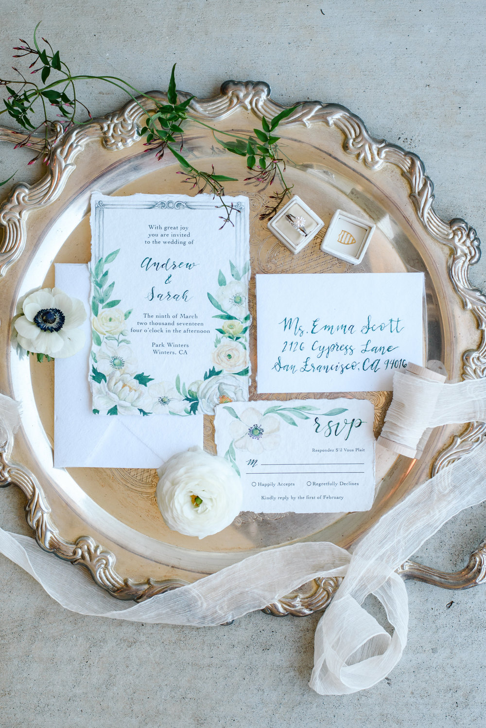 Custom Watercolor Wedding Invitations | Silk Ribbon