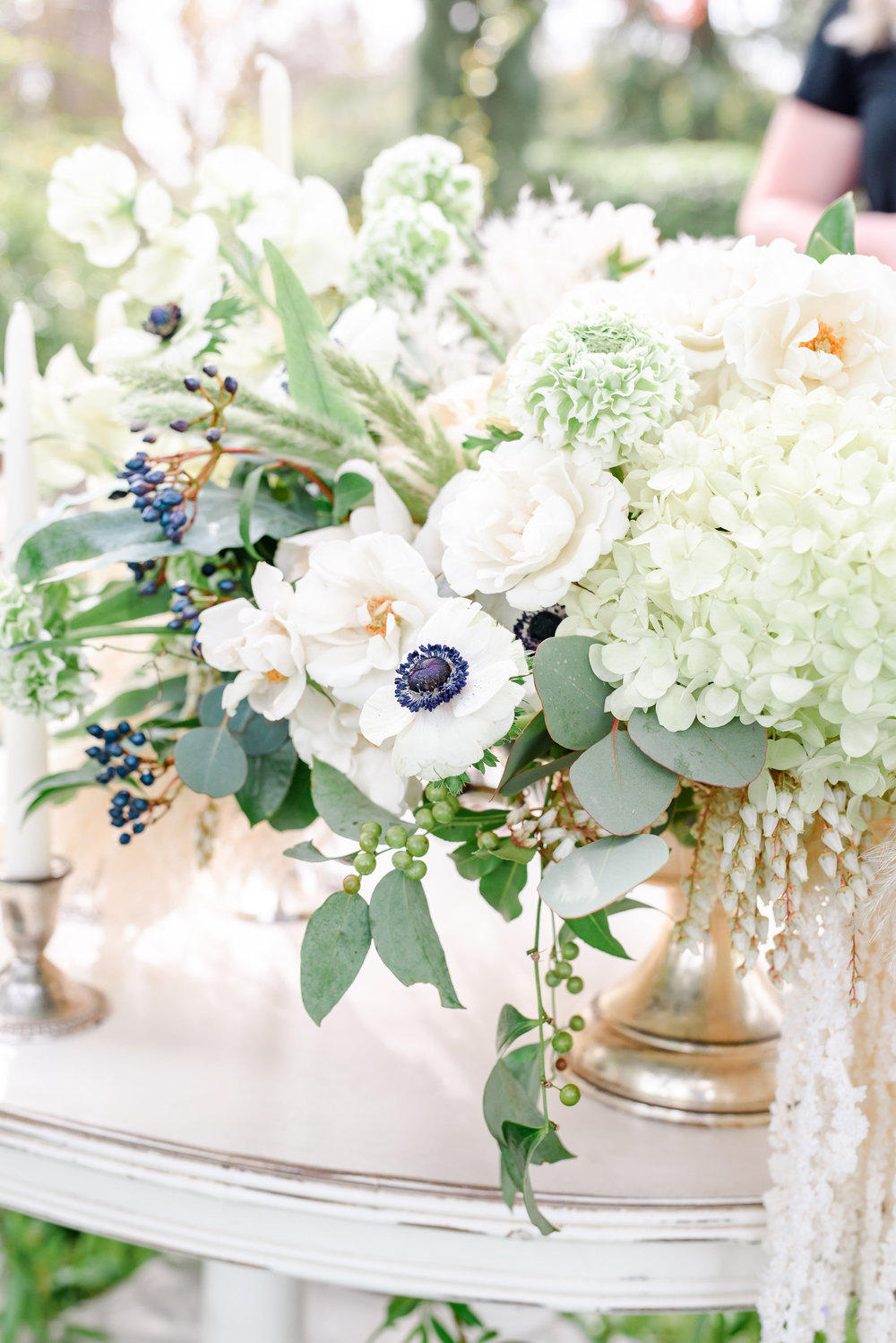 Neutral Wedding Flowers | Pop of Blue | Anemones
