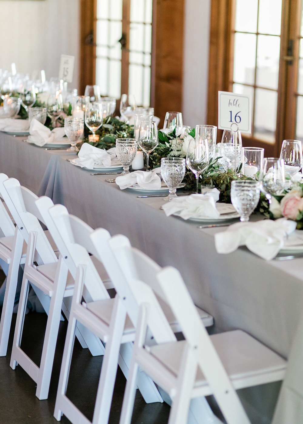 Park Winters Summer Wedding | Indoor Reception | Barn Wedding | Neutral Wedding | Wedding Table | Grey and white wedding