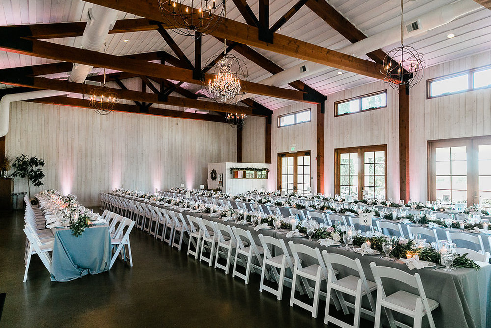 Park Winters Summer Wedding | Indoor Reception | Barn Wedding | Neutral Wedding | Wedding Table | Grey and white wedding | Wedding Floral Runner