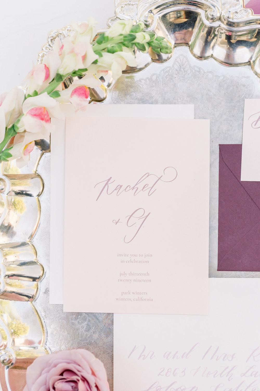 Calligraphy Wedding Invitation Suite | Pink Wedding | Feminine Wedding | Spring Wedding