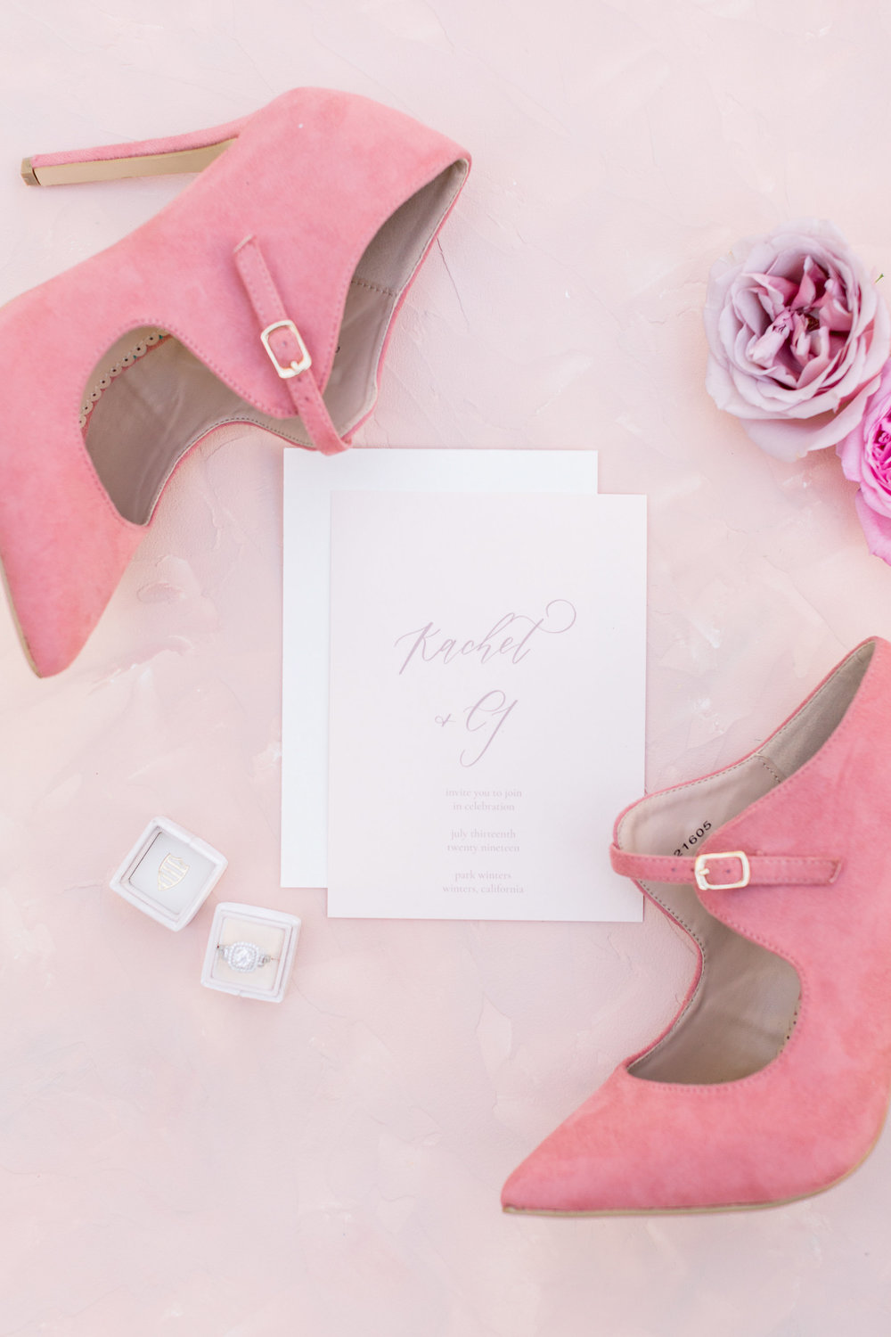 Pink Wedding | Feminine Wedding | Spring Wedding | Pink Wedding Shoes | Wedding Calligraphy | Ring Box