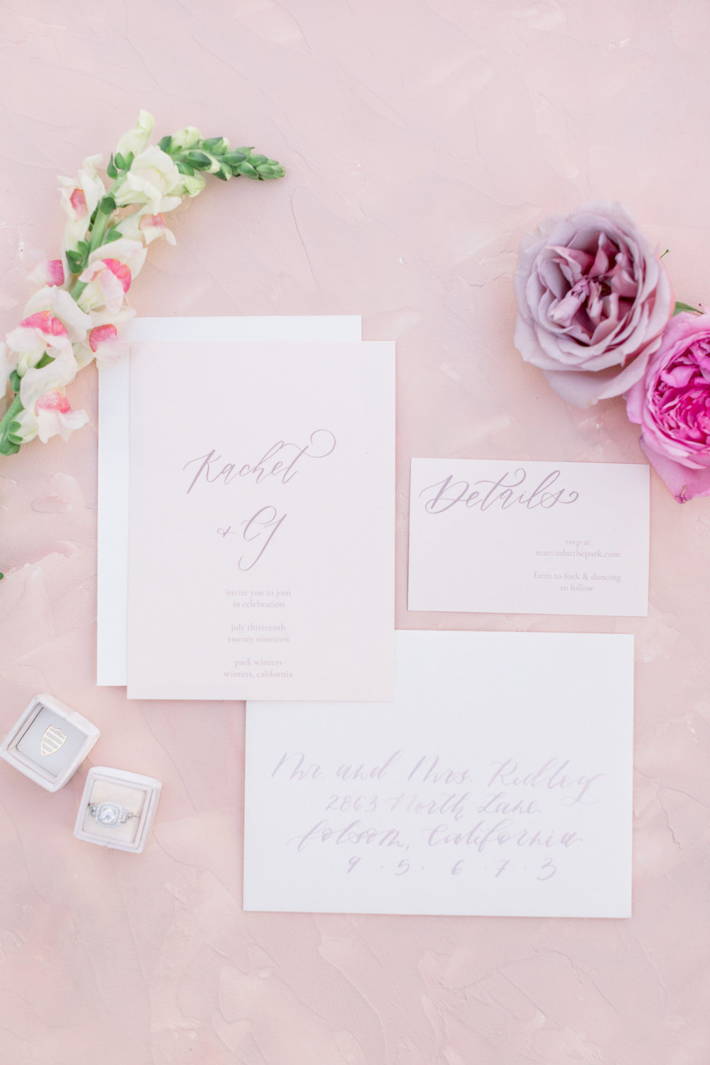 Calligraphy Wedding Invitation Suite | Pink Wedding | Feminine Wedding | Spring Wedding