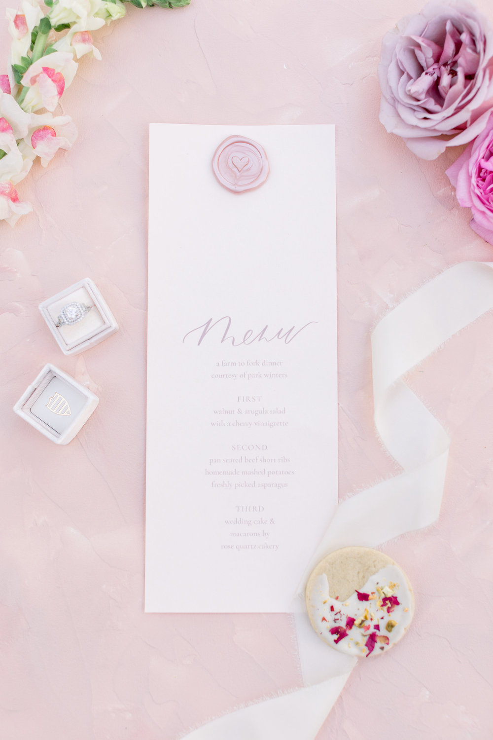 Calligraphy Wedding Invitation Suite | Pink Wedding | Feminine Wedding | Spring Wedding | Wedding Menu
