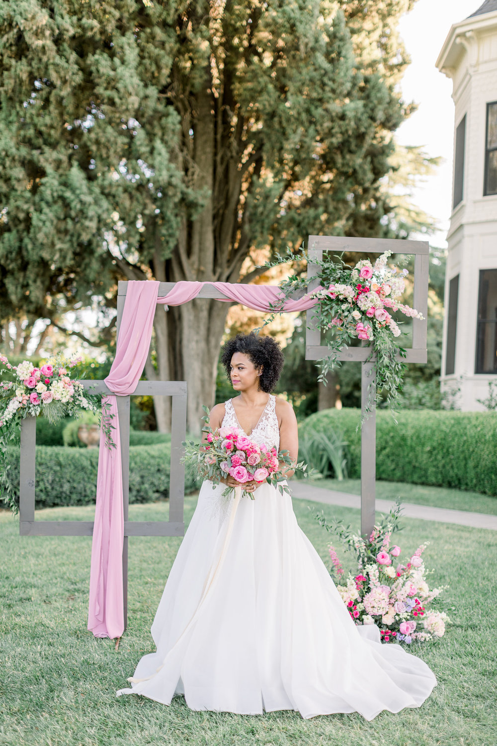 Pink Wedding | Feminine Wedding | Spring Wedding | Wedding Ceremony Arch | Unique Ceremony Arch | Pink Wedding Flowers | Pink Bridal Bouquet