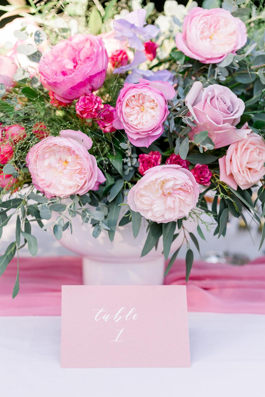 Pink Wedding | Feminine Wedding | Spring Wedding | Wedding Table Decor | Wedding Tablescape | Pink Wedding Flowers | Wedding Calligraphy