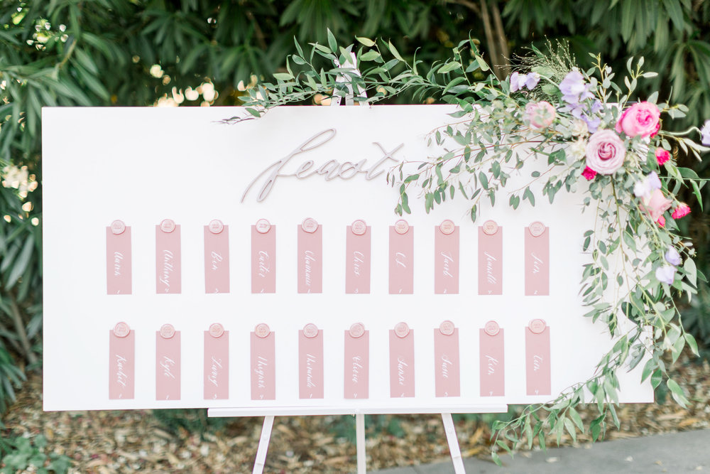 Pink Wedding | Feminine Wedding | Spring Wedding | Wedding Seating Chart | Wedding Calligraphy
