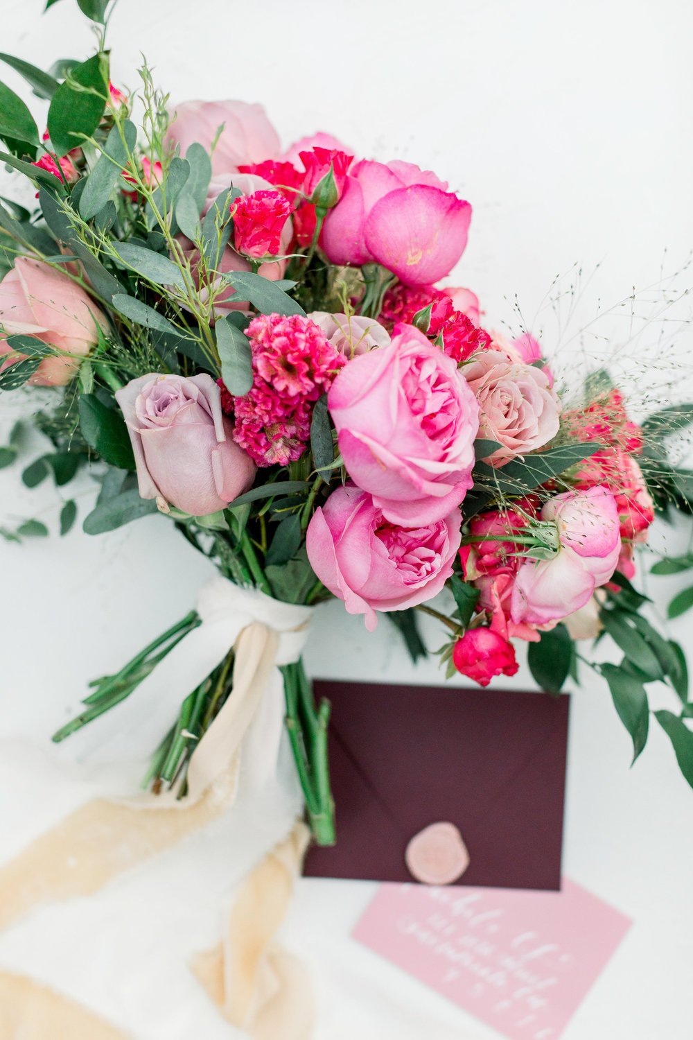 Feminine Fuchsia Inspiration Shoot June 2018  VENDORS:  VENUE:  PARK WINTERS  DESIGN, RIBBON, LINEN:  PARTY CRUSH STUDIO  PHOTOGRAPHY, CALLIGRAPHY:  ASHLEY BAUMGARTNER  FLORAL DESIGN:  MIGNON FLORAL CO.  BRIDAL GOWN, VEIL:  LA SOIE BRIDAL  DESSERT:  ROSE QUARTZ CAKERY  MAKEUP:  MAKEUP BY SUSIE  BRIDE:  THE KACHET LIFE  RING BOX:  THE MRS. BOX