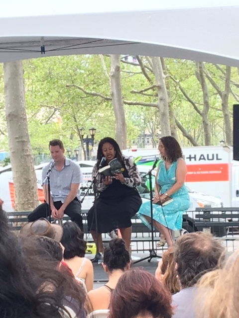 N.K. Jemisin (center) reads from her novel The Fifth Season along with Robert Jackson Bennett and Sarah Beth Durst at the Brooklyn Book Festival.