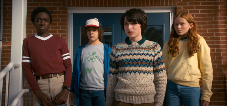 Lucas (Caleb McLaughlin), Dustin (Gaten Matarazzo), Mike (Finn Wolfhard), and Max (Sadie Sink) worry about Will (Noah Schnapp).