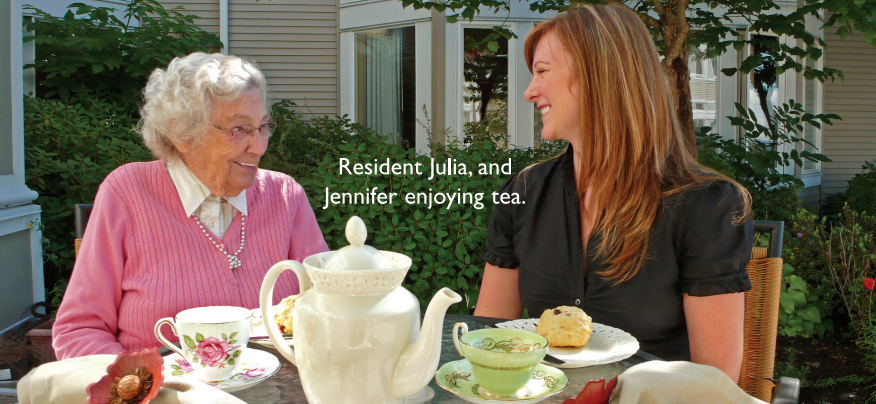 Resident Julia, and Jennifer enjoying tea.